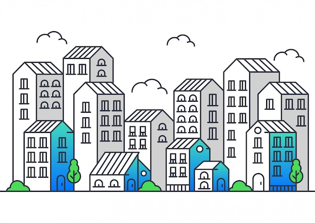 Moderne stijl vectorillustratie van stadslijn