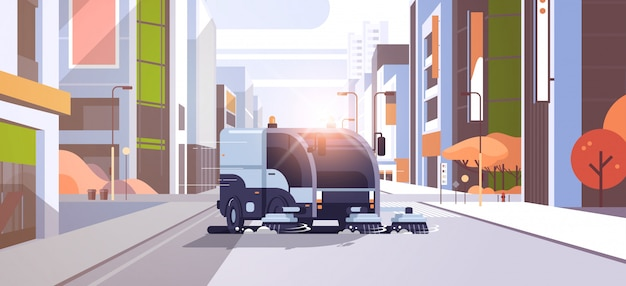Moderne straatveger vrachtwagen asfalt industrieel voertuig wassen