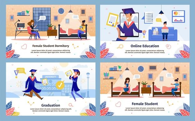 Moderne studenten gelukkig leven platte vector banners set