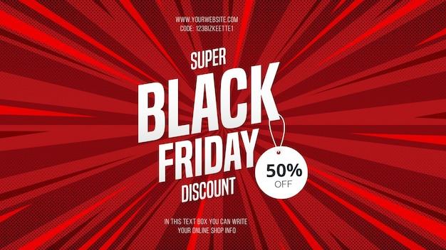 Moderne super black friday-verkoopbannerkorting met komische stijl