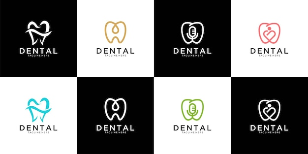 Moderne tandheelkundige logo-ontwerpcollectie