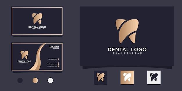 Moderne tandheelkundige logo-ontwerpinspiratie met gouden verloopkleur premium vector