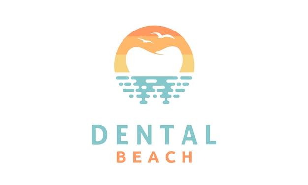 Moderne tandheelkundige op het strand logo ontwerp inspiratie