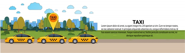 Moderne taxi auto met gps locatie teken online cabine bestel service concept horizontale sjabloon voor spandoek