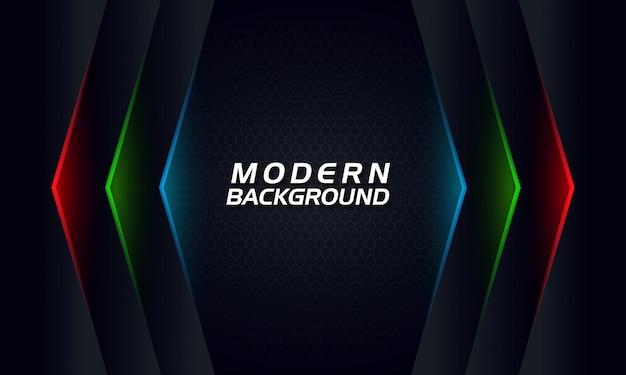 Moderne technologie abstracte donkere achtergrond met rgb gloeiende lijnen
