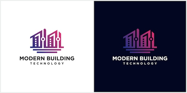 Moderne technologie bouwconstructie logo, modern, uniek, schoon creatief gebouw concept logo ontwerpsjabloon