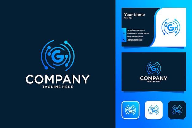 Moderne technologie met letter g-logo-ontwerp en visitekaartje