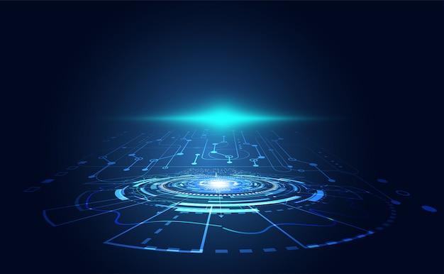 Moderne technologiecommunicatiecirkel digitaal op blauw.