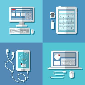 Moderne technologieën: laptop, computer, smartphone, tablet en accessoires
