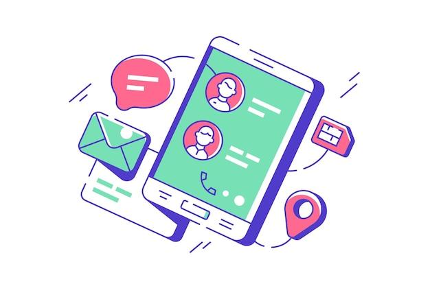 Moderne telefooncontacten in digitale app voor mobiele telefoons