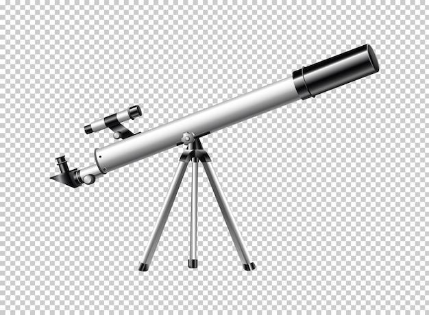 Moderne telescoop op transparante achtergrond