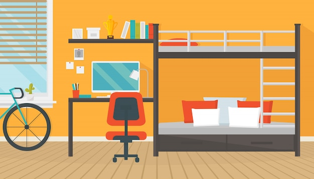 Moderne tiener kamer interieur met trendy werkruimte voor huiswerk