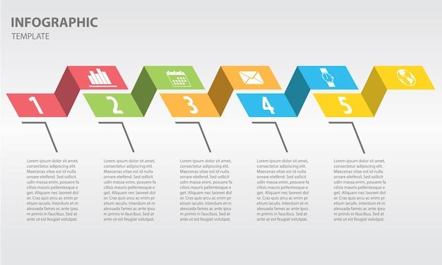 Moderne tijdlijn infographic 5 opties