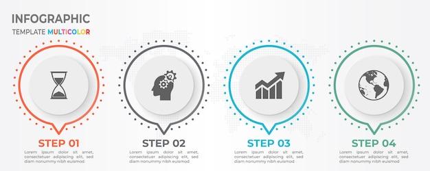 Moderne tijdlijn infographic met cirkel 4 opties.