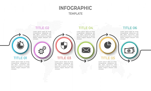 Moderne tijdlijn infographic met cirkel 6 opties.