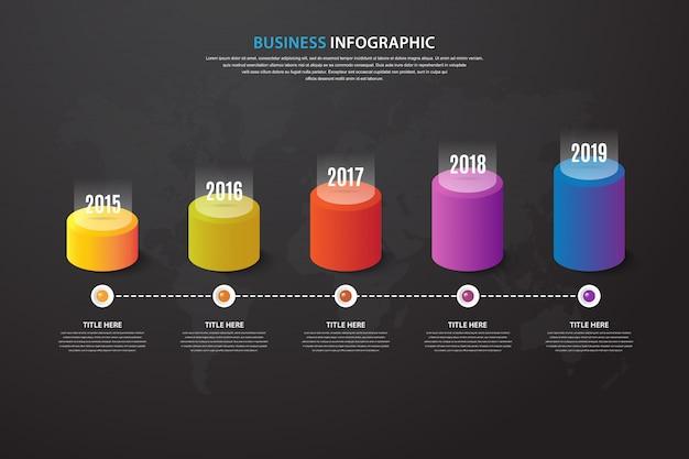 Moderne tijdlijn infographic met optie in 5 stappen
