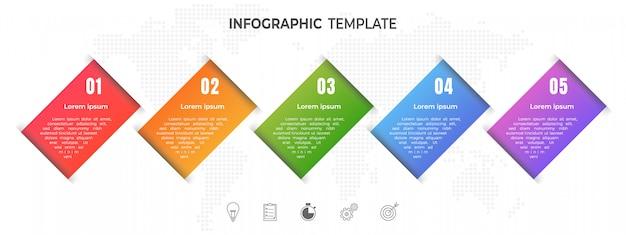 Moderne tijdlijn infographic opties of stap.