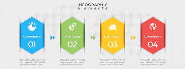 Moderne tijdlijn infographic sjabloon 4 opties.