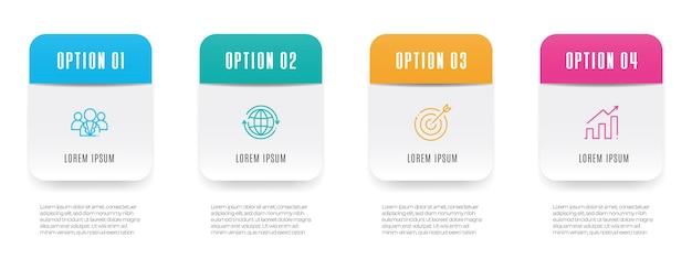 Moderne tijdlijn infographic sjabloon 4 stappen