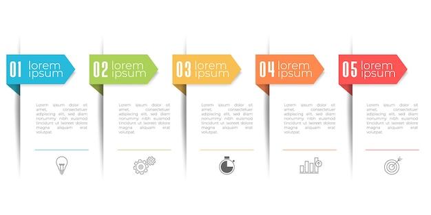 Moderne tijdlijn infographic sjabloon, 5 opties of stap.