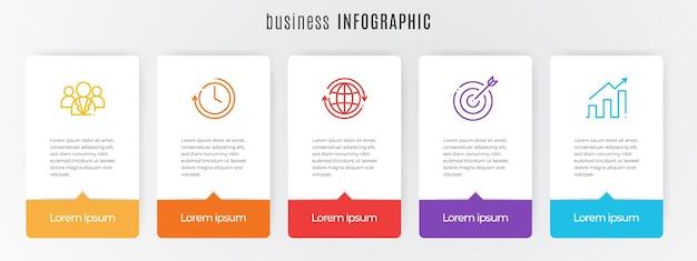 Moderne tijdlijn infographic sjabloon 5 stappen