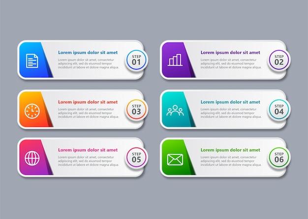 Moderne tijdlijn infographic sjabloon met 6 stappen