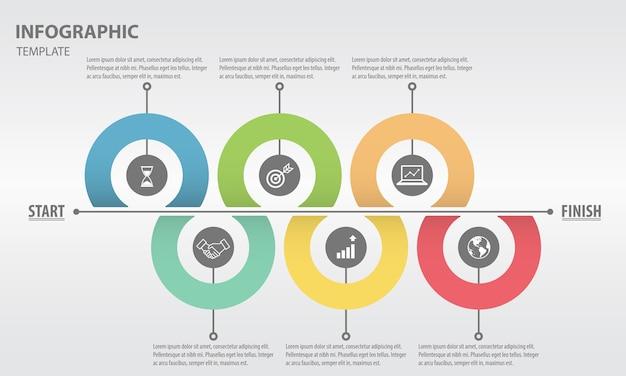 Moderne tijdlijn infographic voor business 6 opties