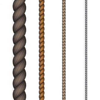 Moderne touw ingesteld op witte achtergrond