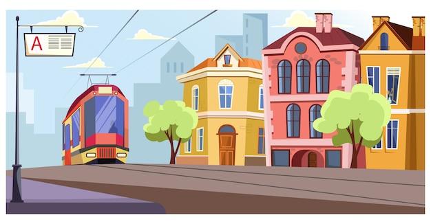 Moderne tram die op sporen in stadsillustratie loopt