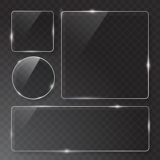 Moderne transparante glasplaten ingesteld op monster achtergrond.