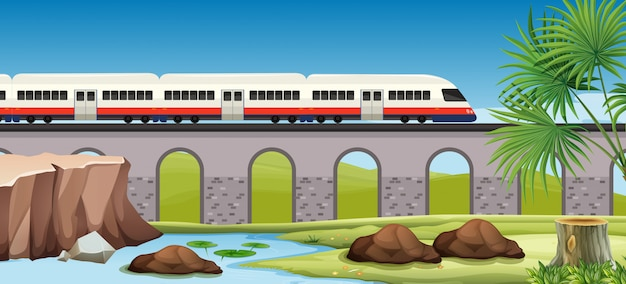 Moderne trein naar het platteland