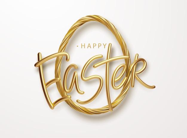 Moderne trendy gouden metallic glanzende typografie happy easter op een achtergrond van paaseieren