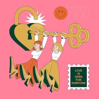 Moderne trendy roze illustratie met twee gelukkige leuke mooie glimlachmeisjes die het slot van liefde met speciale sleutel openen. moderne hipster lgbtq lgbt lesbische foto met zin