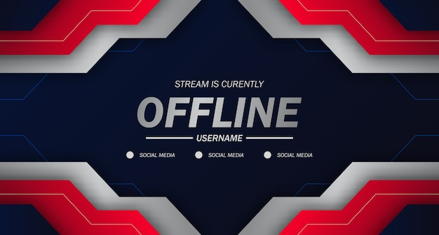 Moderne twitch achtergrond screensaver offline stream gaming futures technische achtergrond met rode kleur geometrische scherpe randen