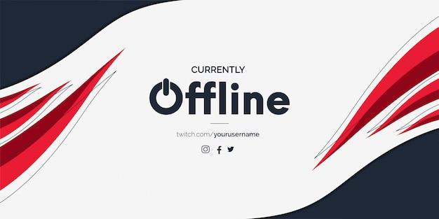 Moderne twitch offline banner met abstracte rode vormen
