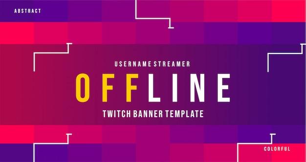 Moderne twitch offline banner met kleurrijke stijl