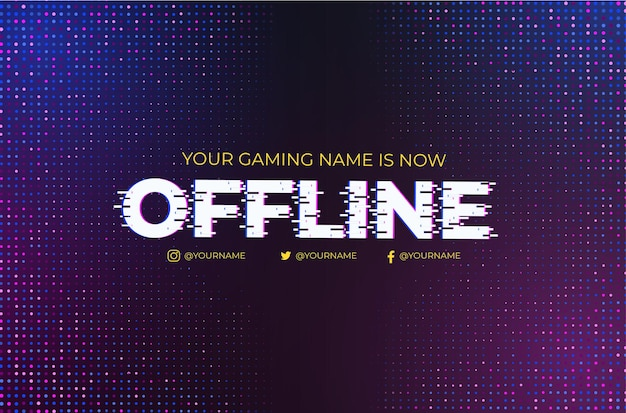 Moderne twitch offline met glitch-effect