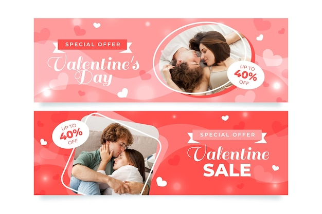 Moderne valentijnsdag banners met foto