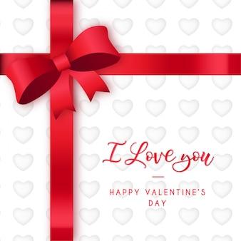 Moderne valentijnsdag met rood lint