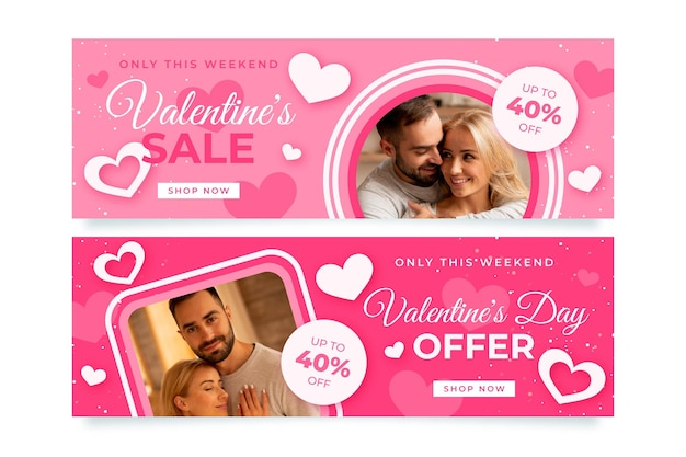 Moderne valentijnsdagbanners met fotoset