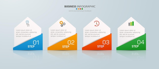Moderne vector infographic sjabloon met 4 stappen voor het bedrijfsleven