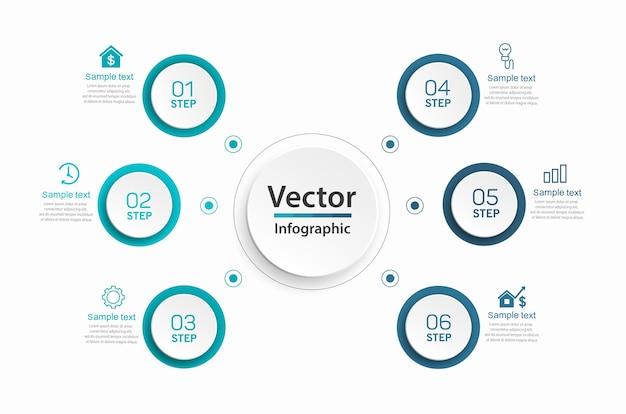 Moderne vector infographic sjabloon met 6 stappen