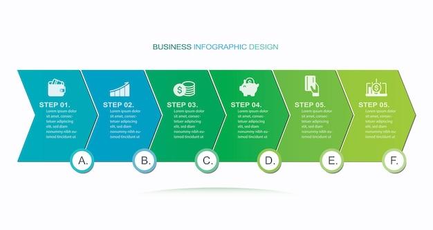 Moderne vector infographic sjabloon stock illustratie infographic stappen vloeiende organisatie ico