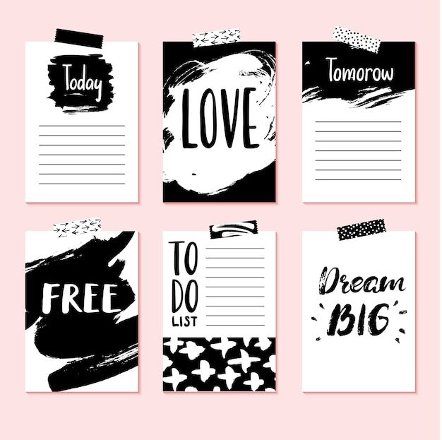 Moderne vector kaartenset voor planner, journaling, scrapbooking, gefeliciteerd, uitnodigingen met stickers.