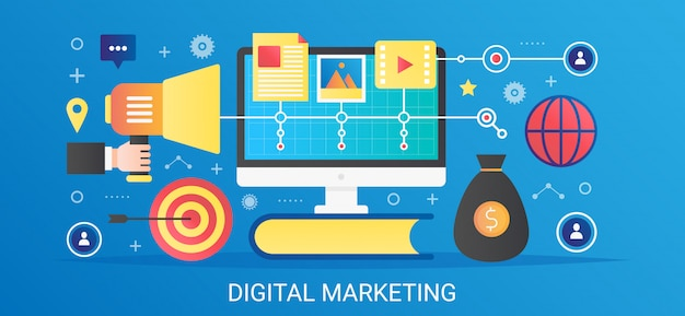 Moderne vector platte kleurovergang digitale marketing concept sjabloon banner met pictogrammen en tekst.