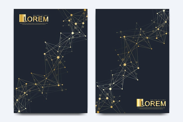 Moderne vector sjabloon voor brochure, folder, flyer, advertentie, omslag, catalogus, tijdschrift of jaarverslag. business, wetenschap, medisch ontwerp. wetenschappelijke gouden cybernetische stippen. lijnen plexus. kaart oppervlak