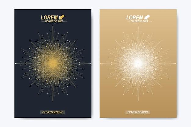Moderne vector sjabloon voor brochure folder flyer cover tijdschrift of jaarverslag gouden lay-out in een...