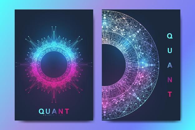 Moderne vector sjabloon voor brochure, folder, flyer, dekking, banner, catalogus, tijdschrift, jaarverslag. kwantumtechnologie. futuristisch explosieontwerp. big data visualisatie. kunstmatige intelligentie