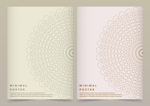 Moderne vector sjabloon voor brochure, folder, flyer, dekking, banner, catalogus, tijdschrift of jaarverslag in a4-formaat. futuristisch wetenschaps- en technologieontwerp. gouden presentatie met mandala.