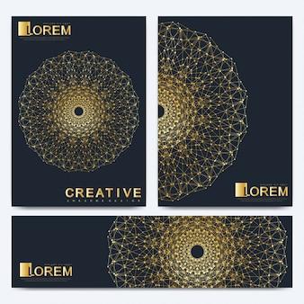 Moderne vector sjabloon voor brochure, folder, flyer, omslag, catalogus, tijdschrift of jaarverslag in a4-formaat. zakelijke, wetenschappelijke en technologische ontwerp boekindeling. presentatie met gouden mandala.